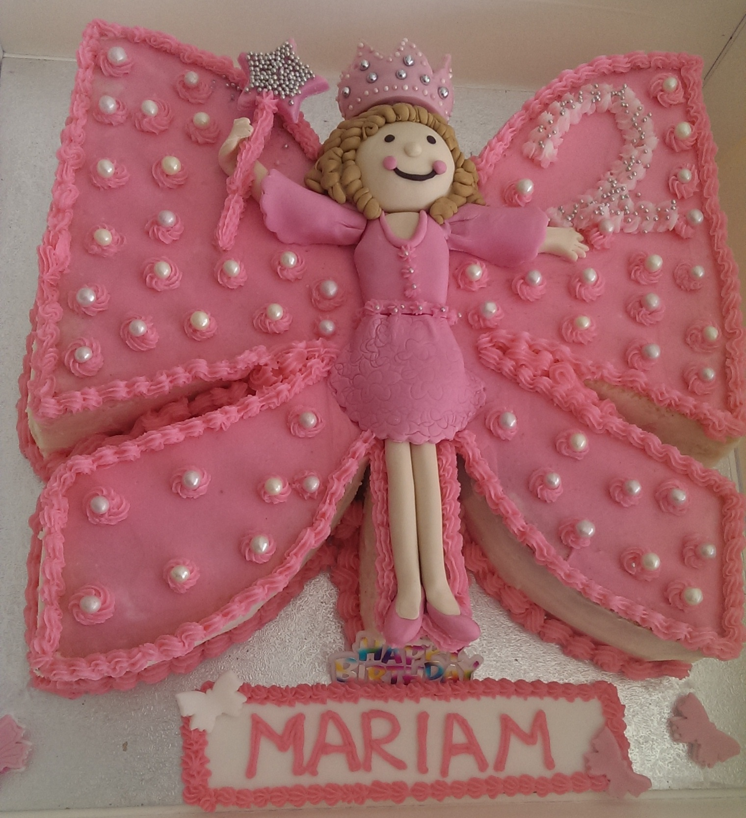 Description Vanilla Cake With Butter Cream Icing Butterfly Themed Birthday