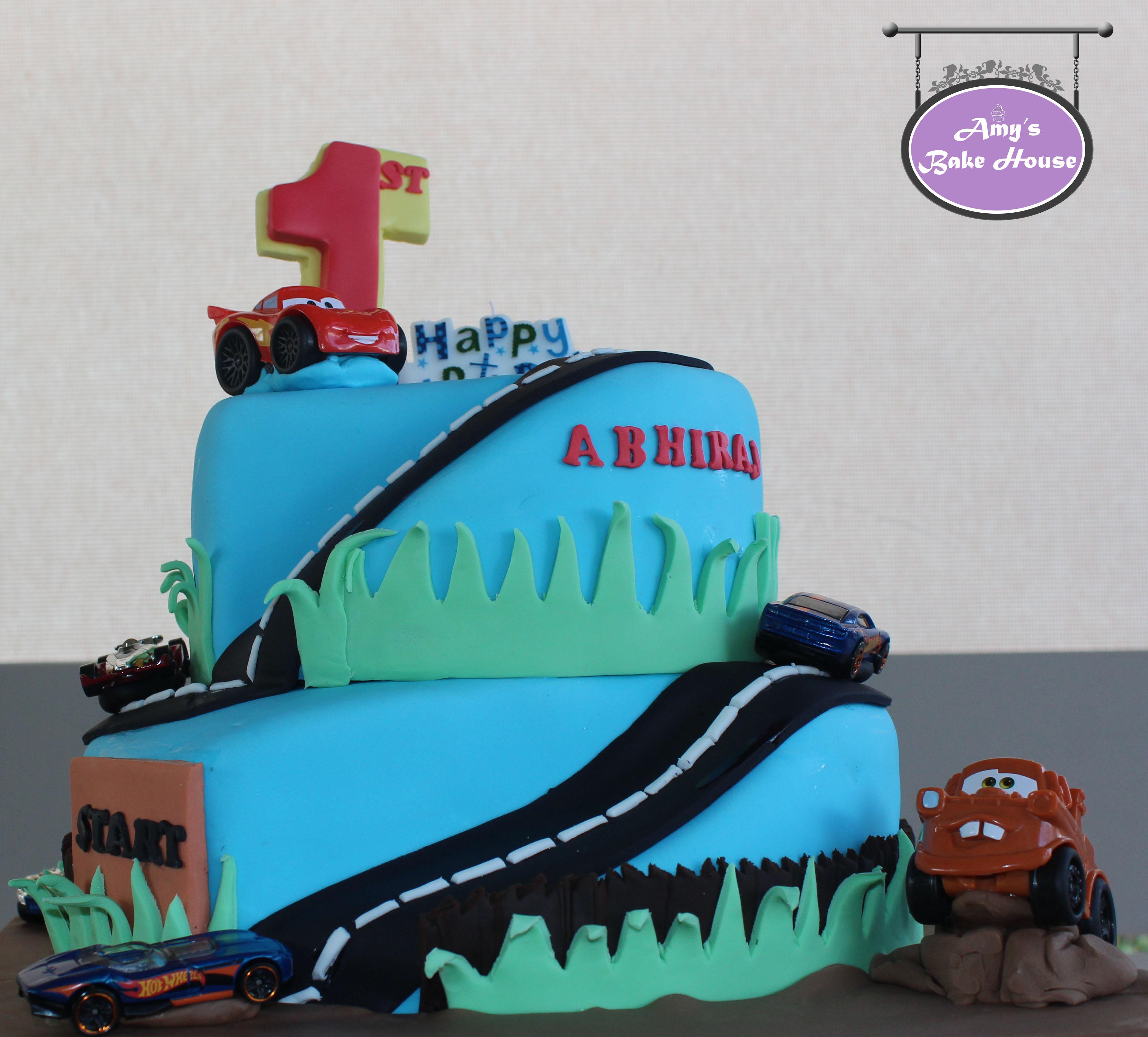 Disney Hot Wheels Car Themed Birthday Cake
