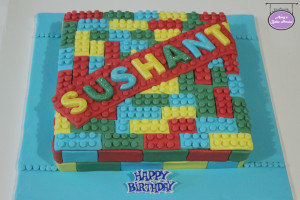 Green Velvet Lego Birthday Cake