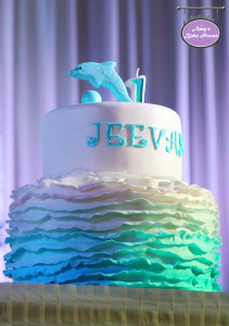 Ombre Ruffled Birthday Cake