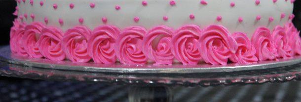 Rosette Pink Velvet Birthday Cake