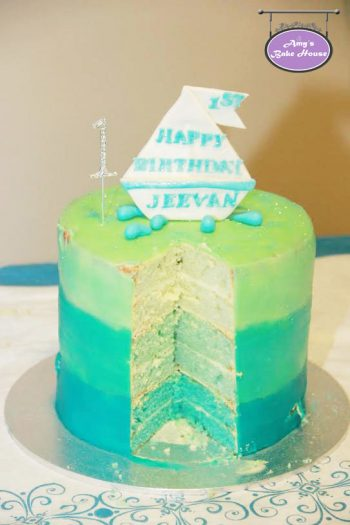 Blue Velvet Ombre Birthday Cake